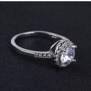 CZ Brilliant Classic Round halo Diamond Ring 8
